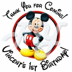 24 Mickey Mouse Personalized Birthday Stickers