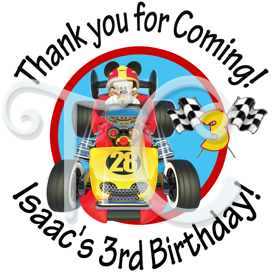 Mickey Mouse Roadster Racers personalized birthday stickers