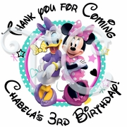 24 Minnie Mouse Personalized Birthday Stickers