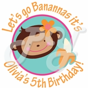 24 Monkey Love Personalized Birthday Stickers