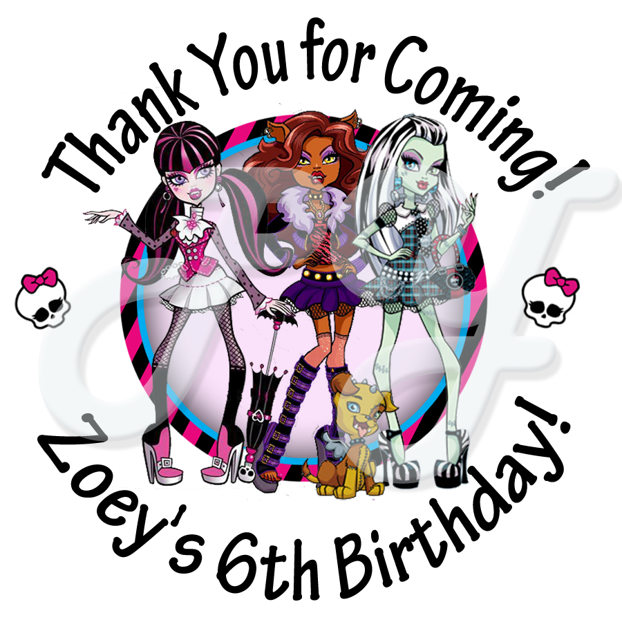 Monster High Personalized Birthday Stickers