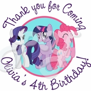 24 My Little Pony Birthday Personalized Stickers