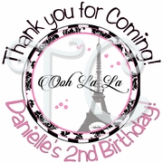 24 Paris Damask Personalized Birthday Stickers