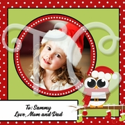 24 Personalized Christmas Owl photo to and from stickers