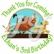 24 Personalized Lion King Birthday Stickers