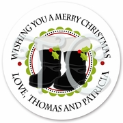24 Personalized Santa's Boots Holiday Stickers