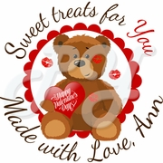 24 Personalized Teddy Bear Kisses Valentine's Day Stickers
