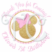 24 Pink and Gold Personalized Minnie Mouse Stickers