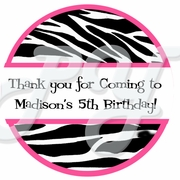 24  Pink and Zebra personalized stickers