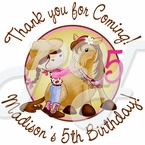 24 Pink Cowgirl personalized birthday stickers