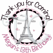24 Pink Paris Personalized Stickers