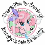 24 Pink Poodle In Paris Personalized Birthday Stickers