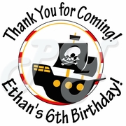 24 Pirate personalized Birthday Stickers