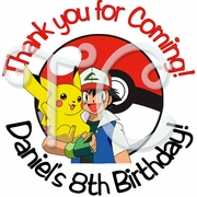 24 Pokemon Personalized Birthday stickers