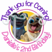 24 Puppy Dog Pals personalized Birthday stickers