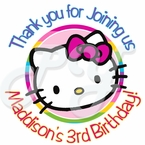 24 Rainbow Hello Kitty Personalized Stickers