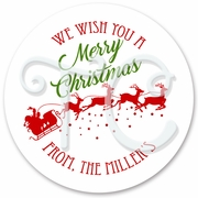24 Santa's Sleigh Personalized Christmas Stickers