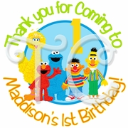 24 Sesame St personalized Birthday stickers