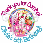 24 Shopkins personalized birthday stickers