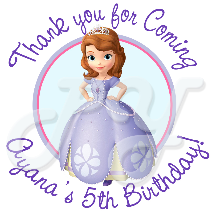Sofia the first personalized birthday stickers 24 sofia the first personalized birthday stickers bookmarktalkfo Gallery