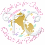 24 Sparkling Unicorn Personalized birthday Stickers