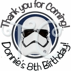 24 Star Wars 7 The Force Awakens personalized Birthday Stickers
