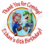 24 Super Mario personalized birthday stickers