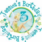 24 Tinkerbell Fairies personalized birthday stickers