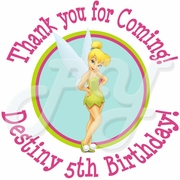 24 Tinkerbell personalized birthday stickers