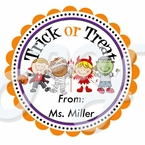 24 Trick or Treat Personalized Halloween Stickers