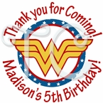 24 Wonder Woman personalized birthday Stickers