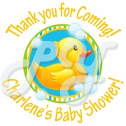 24 Yellow Rubber Ducky Personalized Baby Shower Stickers