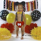3 pcs Mickey Mouse 1st Birthday bloomers set