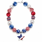 4th of July Bubblegum Chunky Necklace