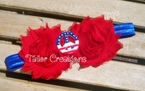 4th of July Peace Flag Shabby Chic flowers Headband