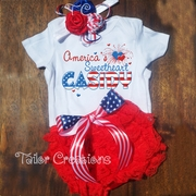 4th of July Personalized Petti Lace Bloomer & Headband Set