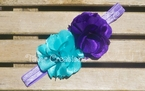 Aqua and Purple Satin Chiffon Flower Shabby Chic Headband