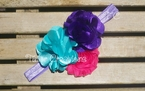 Aqua, purple and hot pink Chiffon Headband