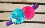 Aqua Satin Chiffon Flower Shabby Chic Headband