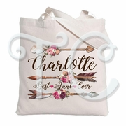 Arrows and Watercolors flowers Tote Bag