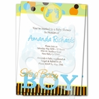 Blue Footprints-It's a Boy baby shower invitations