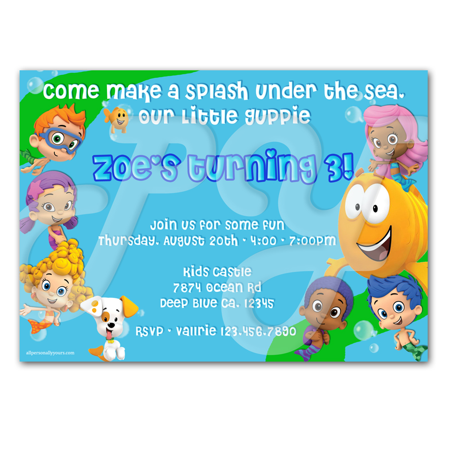 guppies personalized invitations