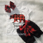 Buffalo plaid Christmas petti lace set