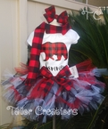 Buffalo plaid Christmas Tutu Set