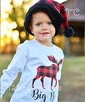 Buffalo plaid Kids Santa Hat