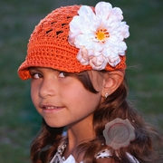 Burnt Orange Crochet Brim Peony Hat