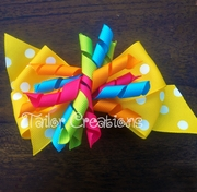 Candy Sweet Yellow Polka dot Korker Hair bow Clip