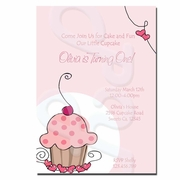 Cherry Sweet Cupcake Invitations
