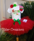 Christmas Red Glitter Personalized tutu Set