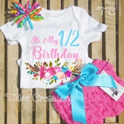 Colorful Watercolor Floral Half Birthday Petti Lace Bloomers Set